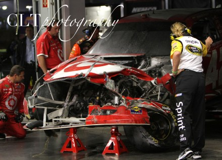 Juan Pablo Montoya after contact with a jet dryer at Daytona.